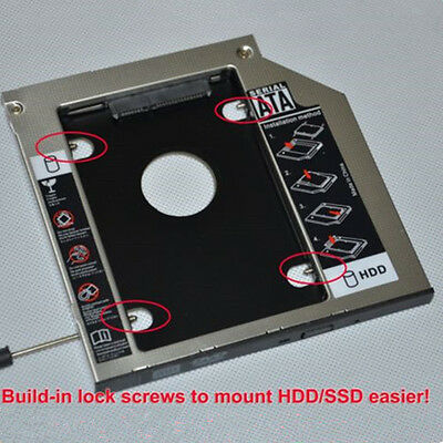 """SATA 2nd 2.5"""" HDD SSD Caddy Adapter for Laptop 9.5mm Optical Hard Drive Bay US"""