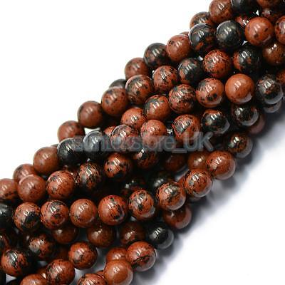 """Wholesale 8mm Natural Red Black Obsidian Gemstone Round Loose Beads Lots 15"""""""