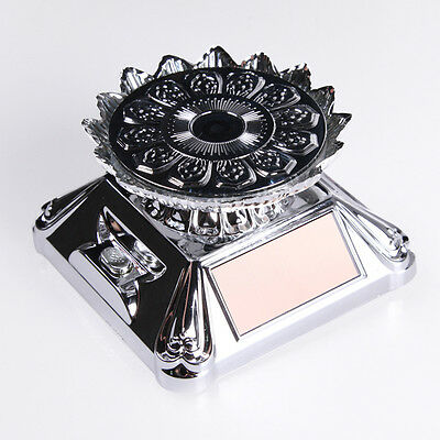 Retro Solar Powered Jewelry Phone Watch Rotating Display Stand Turntable Lotus