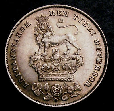 1826 UNC Great Britain King George IV Milled Silver Shilling Coin CGS 75
