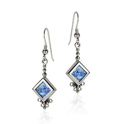 New Sterling Silver Blue Roman Glass Hanging Pointed Square Earrings Light Wear