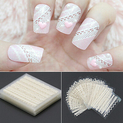 30 Sheets 3D Lace Nail Art Stickers White Diy Tips Decal Manicure Pretty Tool