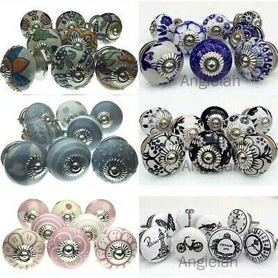 8 PACK CERAMIC KNOBS Drawer Pulls Cupboard Handles Door Vintage Shabby Chic SET