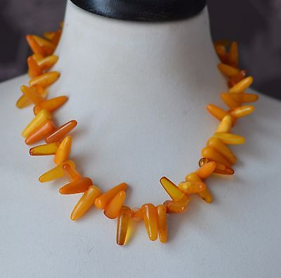 40.5 gr Genuine natural baltic amber round beads necklace egg yolk butterscotch