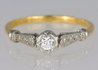 Art Deco 18ct Gold & Platinum Diamond 1920's Vintage Solitaire Engagement Ring