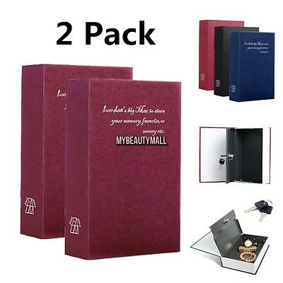 Lot of 2pcs Dictionary Book Safe Hollow Inside Diversion Secret Stash Key Lock