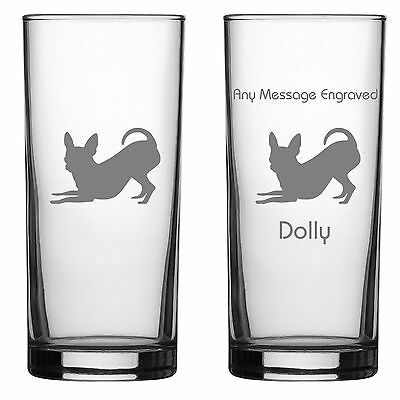 Chihuahua Dog Gift Personalised Engraved Highball Glass