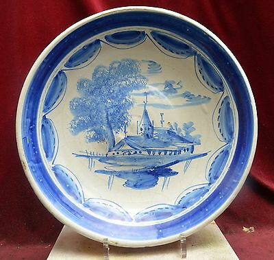 Authentic 18th wonderful majolica plate with a farm and church decor, Friesland