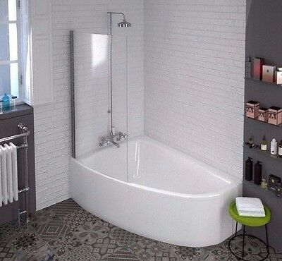 Curved Corner Offset Bath Whirlpool Spa Led System Panel + Glass Shower Screen