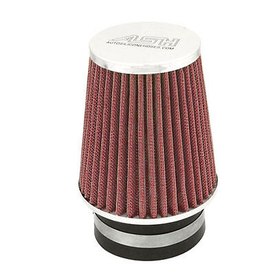 Red Universal Single Air Filter Induction Cone Kit Mesh Car Engine