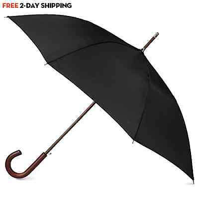 Classic Mens Umbrella Automatic Open Wooden Stick Windproof Folding Rain Black