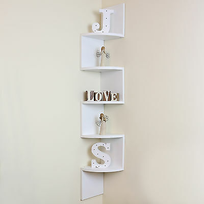 5 Tier White Wall Mounted ZigZag Corner Floating Shelf/Shelves Display Wood Unit