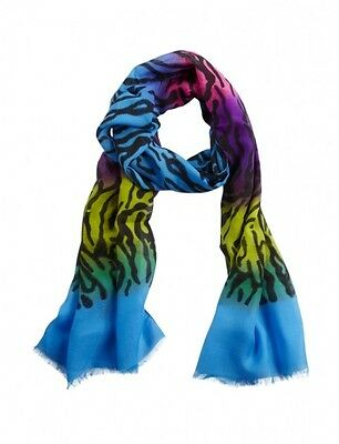 NWT Justice Girls Multi Color Ombre Zebra Print Fringe Scarf NEW