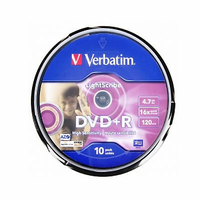 10 Verbatim DVD+R Lightscribe 4.7GB (16x) 120Min 43576 Spindle
