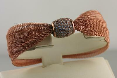 Bracelet Wide Mesh Bangle 925 Sterling Silver Rose Gold over made in Italy