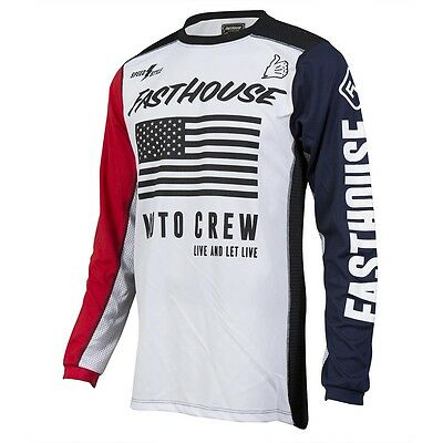 2017 Fasthouse USA Air-Cooled MX Motocross Jersey - Red White Blue
