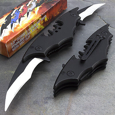 "10.25"" BATMAN DUAL BLADE BLACK SPRING ASSISTED FOLDING KNIFE Dark Knight Joker"