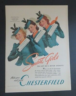 Original 1940 Print Ad CHESTERFIELD Smart Girls for March Month cigarettes