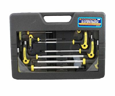 Astro Pneumatic 1026 Metric T-4 Handle Ball Point and Hex Key Wrench Set 9 PC.