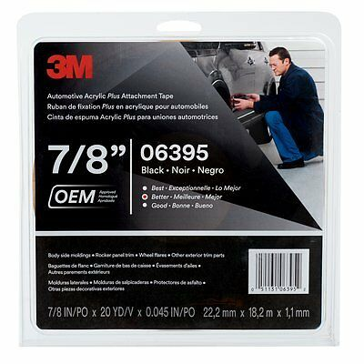 3M 06395 Automotive Acrylic Plus Attachment Tape, 7/8 in x 10 yd, 60 mil