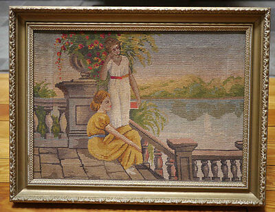 Antique 1900s Victorian Scene Handmade SILK Tapestry Embroidery Framed Picture