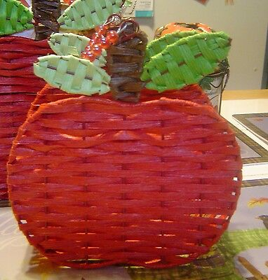 Red Apple Wicker Napkin  Holder With Beaded Handle New