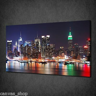 New York City Colourful Lights Canvas Print Wall Art Picture Ready To Hang