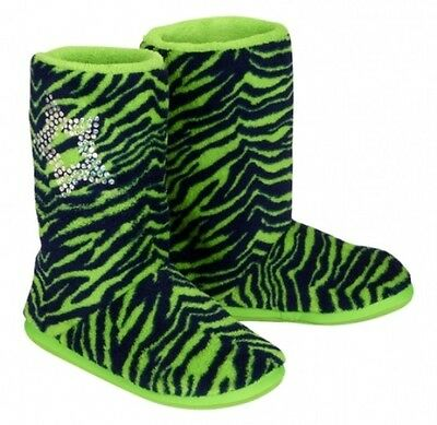NWT Justice Girls Navy & Lime Zebra Sequin Plush Bootie Slippers U Pick Size NEW