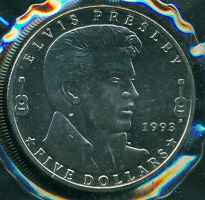 1993 Marshall Island $5 Elvis Presley Commemorative Coin