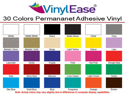 10 Rolls of 12 inch x 8ft Permanent Craft Vinyl:YOU PICK from 30 Colors V0332