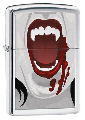 Zippo High Polish Chrome Vampire Teeth Windproof Lighter 28654 New