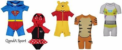 Official Licensed Disney/DC Baby/Infant Hooded Sun Suit Swim Suit Beach Costume