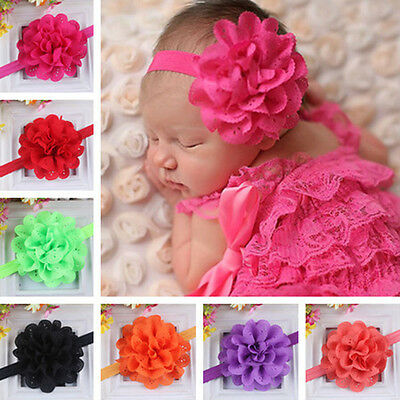 Kids Girls Toddler Baby Headband Lace Bow Flower Hair Band Accessories Headwear