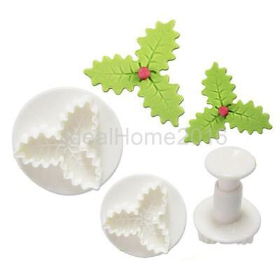 2x Veined Three-leaf Holly Fondant Cutter Plunger Cake Bake Tool Mold Mould