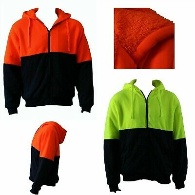 Hi Vis Safety Workwear Full Zip Thick Winter Sherpa Fleece Hoodie Jumper Jacket