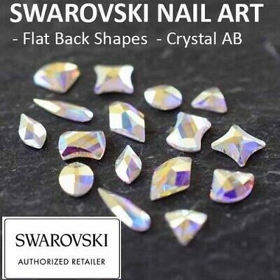 Genuine Swarovski Flat Back Crystals Rhinestones Gems Shapes Nail Art Crystal AB