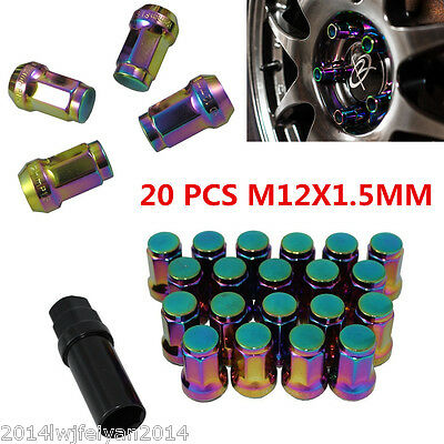 20xNEO CHROME M12x1.5 STEEL EXTENDED LUG NUTS WHEEL RIMS TUNER W/ LOCK For Honda