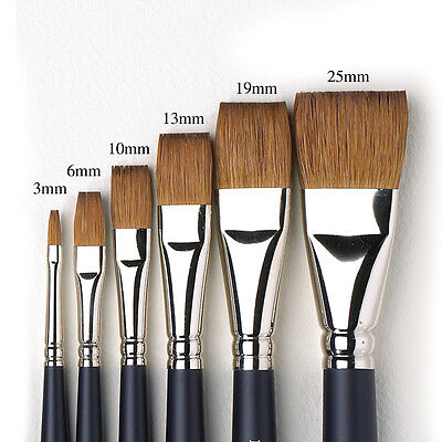 Winsor & Newton Artists Pure Sable Flat Single Brushes. Watercolour Paint Brush.