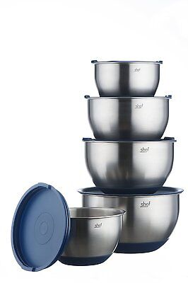 VonShef Stainless Steel Mixing Bowl Set with lids 5 Piece Non-Slip Baking Bowls