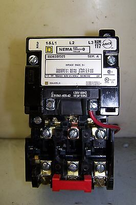 Square D Size 0 Motor Starter 8536Sbo2S 5 Hp Coil 120 Volt Very Little Use