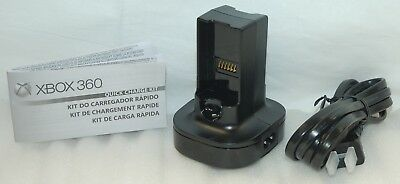 NEW OEM Microsoft XBox 360 QUICK CHARGE KIT BLACK dual battery charger GENUINE