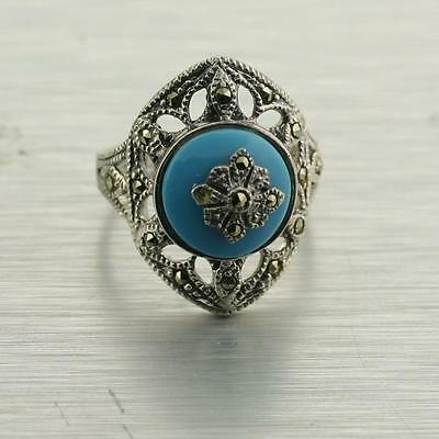 Blue Turquoise, Marcasite Filigree Earrings Ring 925 Sterling Silver Set Eatate