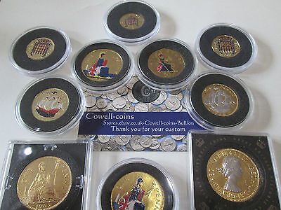 UK Queen Elizabeth II Gold Rhodium Platinum Enamelled various pre & decimal coin