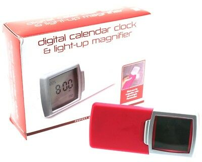 PERFECT SOLUTIONS Digital Calendar Clock / Light - Up Magnifier LCD LED NEW