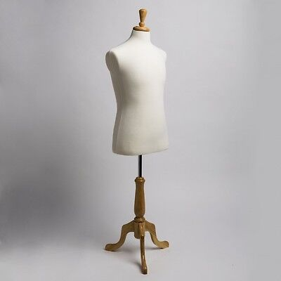 NEW Dress Jersey Form Male Cream White w/ Natural Tripod Wooden Base Mannequin