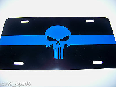 Thin Blue Line PUNISHER - LICENSE PLATE  Quality Metal Police Tag -- PBA FOP