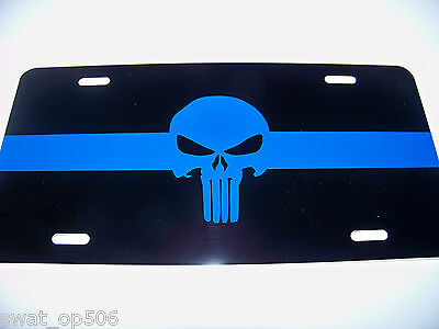 Thin Blue Line PUNISHER - LICENSE PLATE  Quality Metal Police Tag &Ships FREE!
