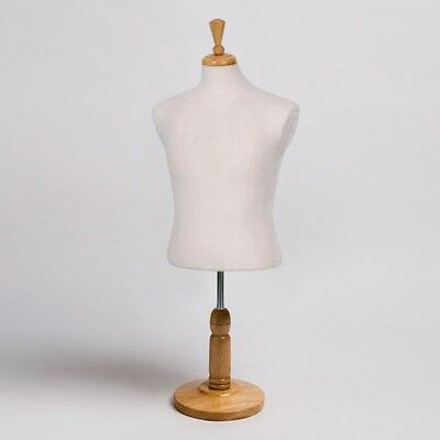 NEW Countertop Dress Jersey Form Men's Male Cream Mannequin w/ Wood Natural Base