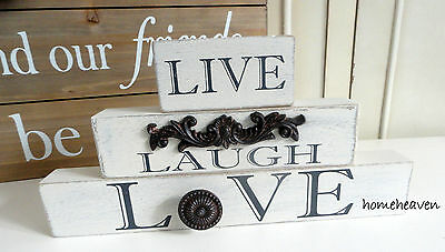 Live Laugh Love word Block Wooden Vintage Shabby chic Ornament  romantic love