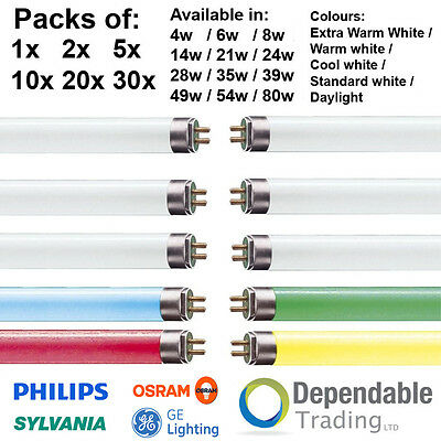 Packs of BRANDED T5 FLUORESCENT TUBES 6, 9, 12, 21 inch 2ft 4ft 3ft 5ft 6ft foot